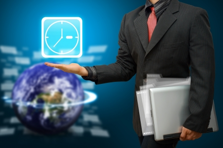 Business man Hold Clock icon photo
