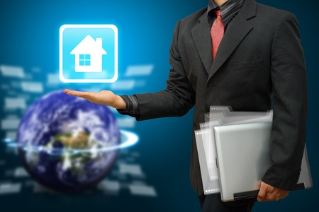 wold map: Business man Hold House icon