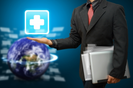 emergency case: Business man Hold First Aid icon
