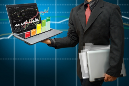 Business man and graph report Stock Photo - 14396502