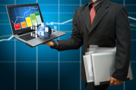 Business man and graph report Stock Photo - 14396501
