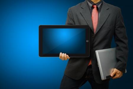 hi speed: Business man hold digital tablet Stock Photo