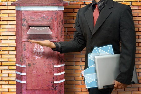 post box: Business man got E mail