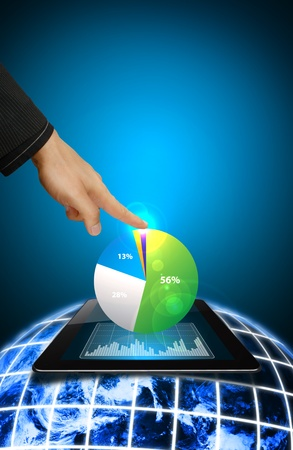 wold map: Smart hand and Graph report on tablet Stock Photo