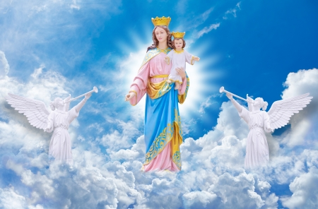 bless: Jesus and Mary on heaven
