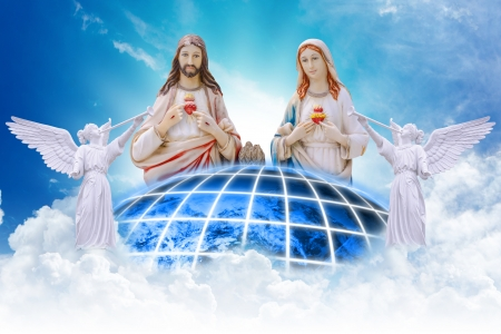 Jesus and Mary on heaven Stock Photo - 14396464