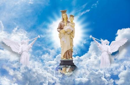 vierge marie: Jésus et de Marie au ciel Banque d'images