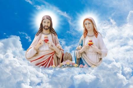 sacre coeur: Jésus et Marie Banque d'images
