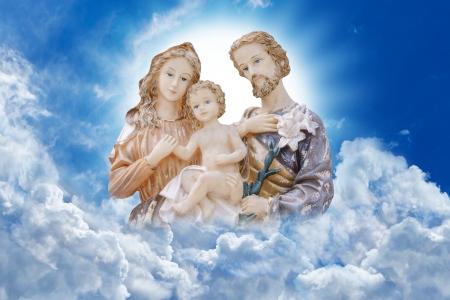 saint joseph: Happy family Mary Jesus and Joseph Stock Photo