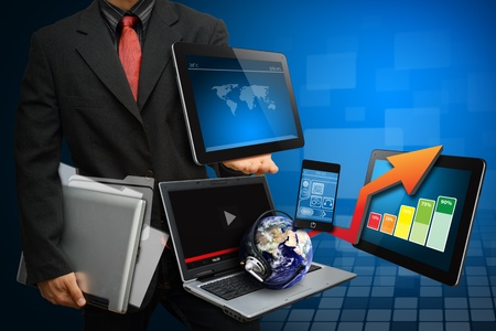 Smart digital devices for report all data  Stock Photo