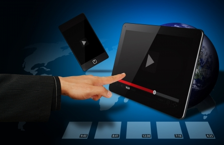 vdo: Smart digital devices and VDO player on tablet  Stock Photo