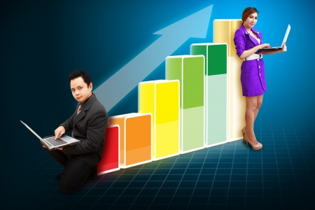Business team on the Big Graph  photo