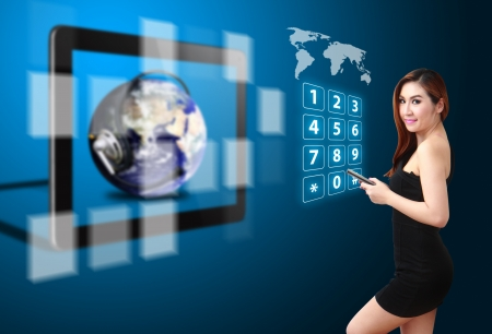 Lady on globe and communications world photo