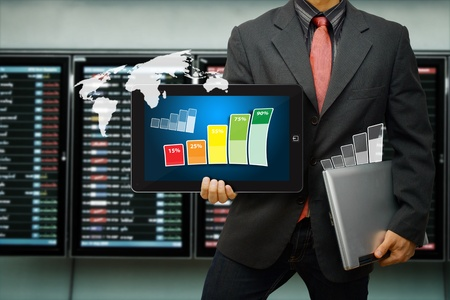 stock broker: Smart digital devices for report all data  Stock Photo