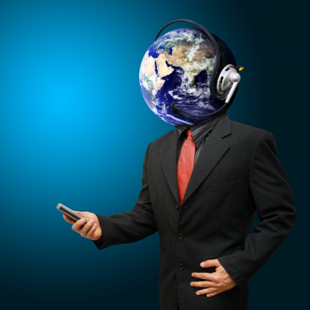 Business man with a head phone and globe for a head photo