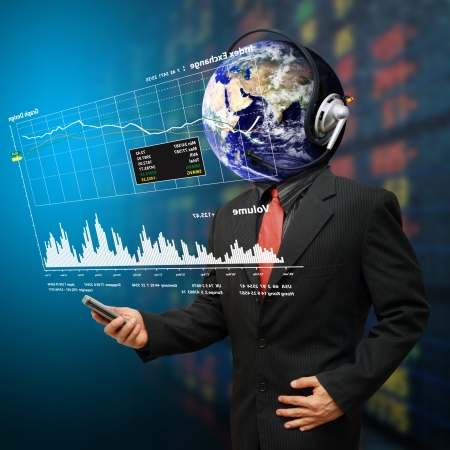 Business man and data report