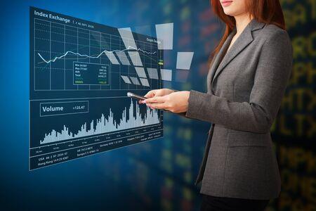 Bayan ve grafik raporu Stock Photo