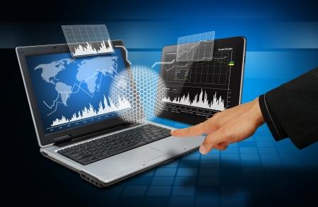 Smart hand touch on 3D graph Standard-Bild