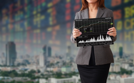 Lady and graph report Stock Photo - 14760411