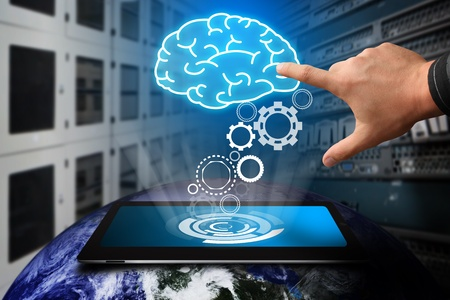power of the brain: L'ingranaggio di essere un genio dal touch pad in camera data center Archivio Fotografico