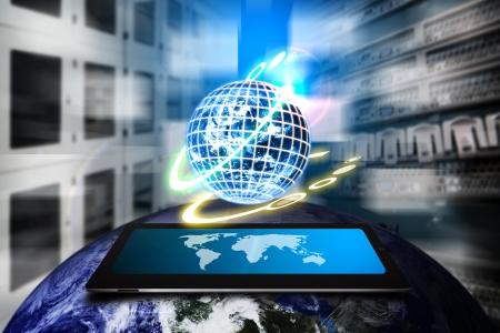 Veri merkezi odada dijital dünya kontrolü Stock Photo