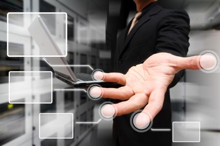 centro de computo: Botón de Enlace de la mano de programador s