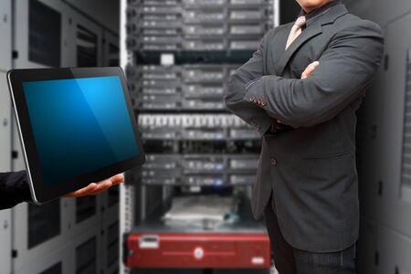programmer computer: Programmer in data center room  Stock Photo
