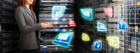 Programmer in data center room and data file system Stock Photo - 15115024