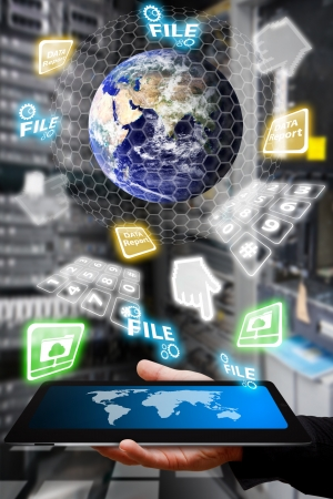 Digital world and the hand take control the system in data center room  Stock Photo