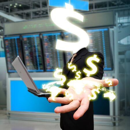 Money s head and money icon