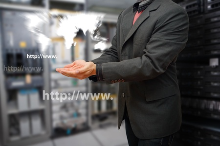 Programmer in data center room with world map control Stock Photo - 15668349