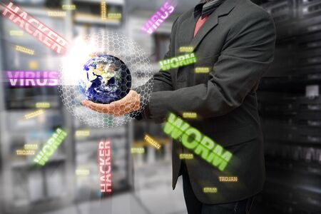 Programmer safe the world from virus and hacker Stock Photo - 15668337
