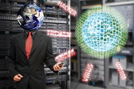 Programmer safe the world from virus and hacker Stock Photo - 15668336