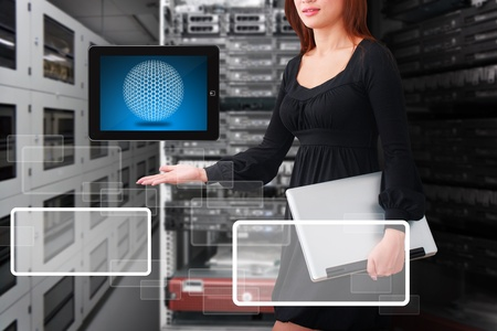 control room: Programmers in data center room and digital tablet for present  Stock Photo