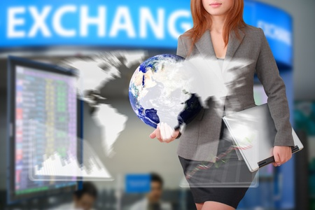 Business woman with graph report for exchange rate Stock Photo - 15668395