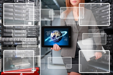 server room: Programmer hold tablet and window icon in server room Stock Photo