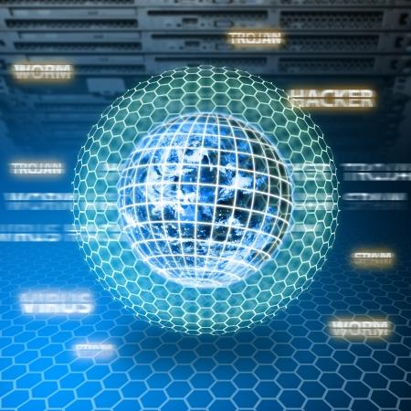 virus informatico: El mundo digital está protegido en la habitación del centro de datos