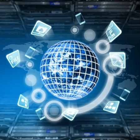 cable red: Concepto de mundo digital en la sala de centro de datos Foto de archivo