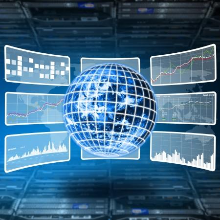 analyze data: Data report on digital World Stock Photo