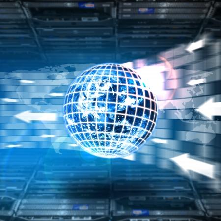 information technology industry: Digital world download in data center room