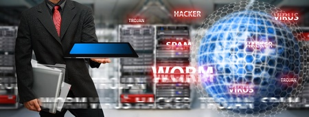 Programmer and digital world safe for virus and hacker Stock Photo - 15655752