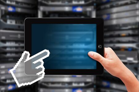 internet terminal: Digital hand touch on tablet Stock Photo