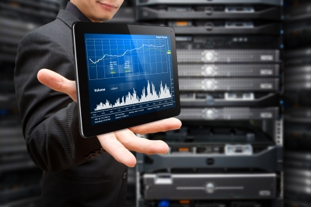 data center data centre: Monitoring the system from tablet in data center room