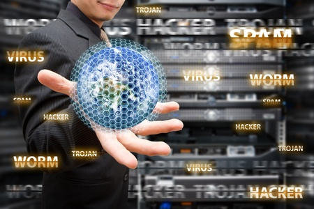 internet attack: Virus protected in data center room Stock Photo