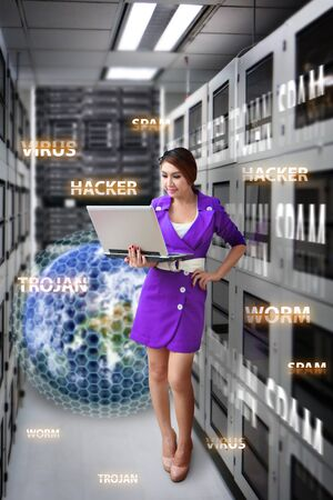Programmer in data center room and virus protection Stock Photo - 17044777