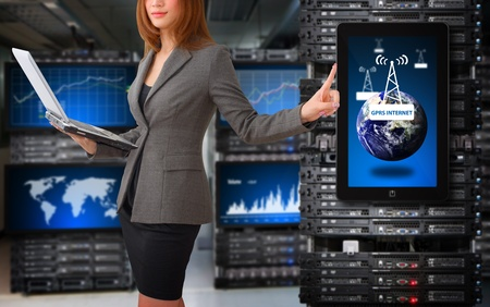 world security: Programmer take control the digital file in data center room