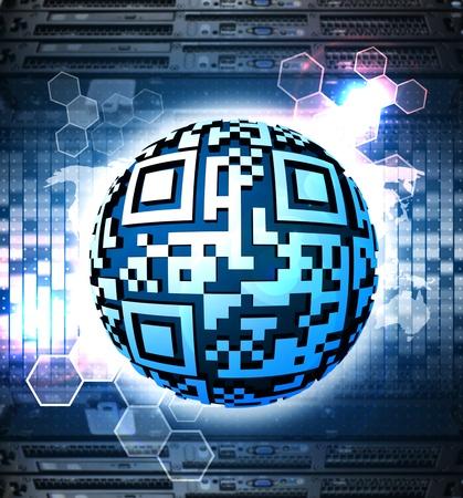 qr code: Digital round QR code with technology background