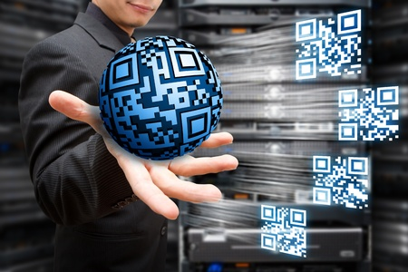 Digital round QR code with technology background
