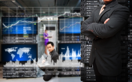 Programmer monitoring system in data center room  Standard-Bild