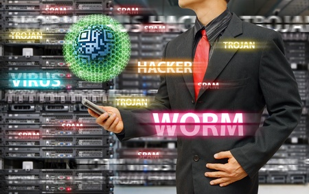 Virus infected by Programmer in data center room Stock Photo - 16861177